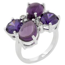 Silver-Tone Purple Cubic Zirconia Flower Ring