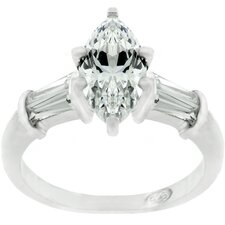 Sterling Silver Marquise Cubic Zirconia Engagement Ring