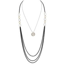 Round Cut Cubic Zirconia Three-Toned Layered Necklace