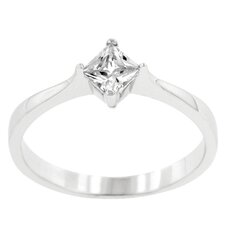 Sterling Silver Clear Cubic Zirconia Petite Solitaire Ring