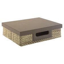 Volcano Dusk Small Storage Bin with Natural Grass Weave Pattern