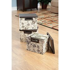 Grand Expressions 3-bin large file  collection in Neutral & Chocolate Floral Print (Set of 3)