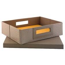 NEW YORK SKYLINE Small Storage Bin in Patent Leather Croc Biege