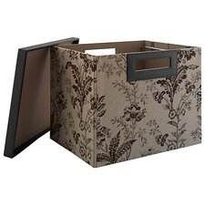 Grand Expressions Large File/Storage Bin in Neutral & Chocolate Floral Print