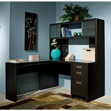 New York Skyline L-Shape Computer Desk with Hutch
