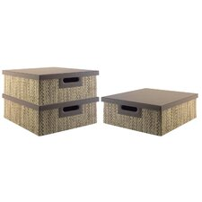 Volcano Dusk media storage bin collection (3 bins) with Natural Grass Weave Pattern