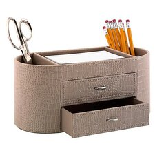 <strong>kathy ireland Office by Bush</strong> NEW YORK SKYLINE Desktop Organizer in Patent Leather Croc Biege