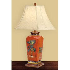 """Tropical 27"""" H Table Lamp with Bell Shade"""