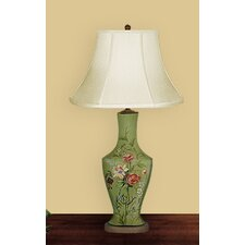 """Flowers In Bloom 30"""" H Table Lamp with Bell Shade"""