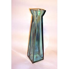 Coloured Glass 45cm Pyramid Vase in Blue
