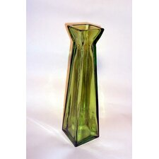 Coloured Glass 45cm Pyramid Vase in Green
