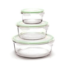 Glasslock 6-Piece Round Tempered Glass Container Set with Sealed Lid