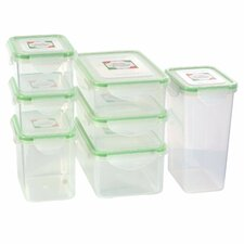 14-Piece Rectangular Plastic Food Storage Container Set with Sealed Lid
