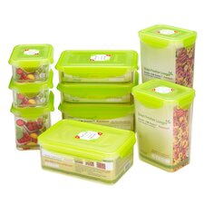 18-Piece Rectangular Plastic Food Storage Container Set with Sealed Lid