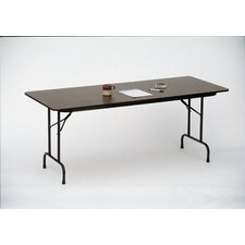 Melamine Top Folding Table in Medium Oak/Dove Gray