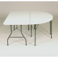 "<strong>Correll, Inc.</strong> 60"" Serpentine Blow-Molded Food Service Large Half-Oval Table with Plastic Top and Charcoal Frame"