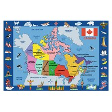 Fun Time Map of Canada Kids Rug