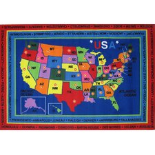 Fun Time State Capitals Kids Rug
