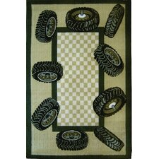Fun Time Tire Border Auto Kids Rug