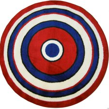 Fun Shape High Pile Concentric Circles Kids Rug