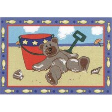 Jade Reynolds Beach Bear Kids Rug