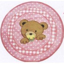 Supreme Teddy Center Pink Bear Kids Rug