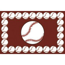 Fun Time Baseball Time Brown/White Kids Rug