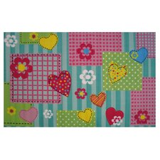 Fun Time Hearts and Flowers Kids Rug