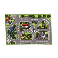 Fun Time Around Town Road Kids Rug