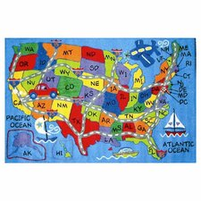 Travel Fun Map Rug