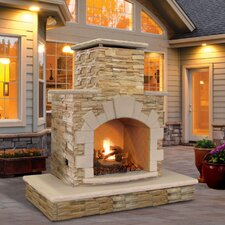 Natural Stone Propane Gas Outdoor Fireplace