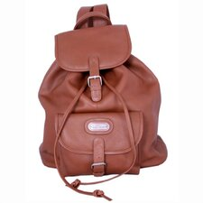 Leather Backpack with Single Pocket in Tan