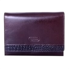 Accordion Wallet with Croc in Brown
