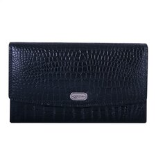Women's Croc Accordion Wallet in Black/Cognac