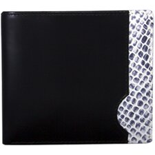 Italian Calf Leather with Snake Print Double Fold Wallet