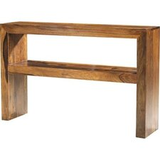 Cube Sheesham Console Table with Shelf