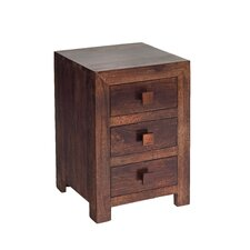 Mango Toko 3 Drawer Bedside Table