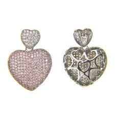 Micro Pave Pink Cubic Zirconia Heart Pendant
