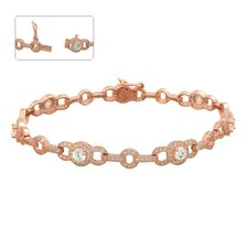 <strong>Edgewater Jewelry</strong> Cubic Zirconia with 7 Circle Station Bracelet