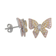 Cubic Zirconia Butterfly Earrings