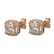 Cubic Zirconia Square Solitaire Border Earrings