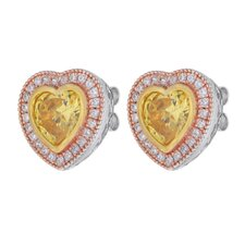 Cubic Zirconia Heart Center Earrings