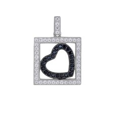 Micro Pave Sterling Silver Heart Cubic Zirconia Pendant