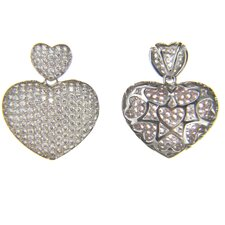 Micro Pave Sterling Silver Cubic Zirconia Double Puff Heart Pendant