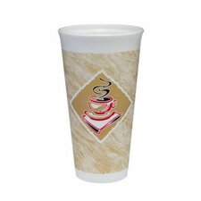 20 Oz Café G Design Foam Hot / Cold Cups in White / Brown with Red Accents