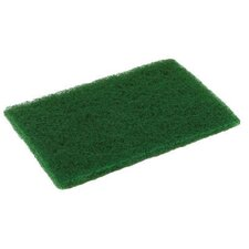 "6"" x 9"" Medium Duty Scouring Pad in Green Pack of 10"