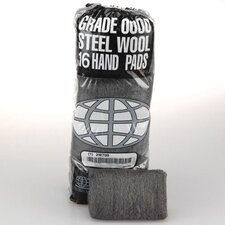 Industrial Quality Steel Wool Hand Pad, Medium Coarse - 16/Pack