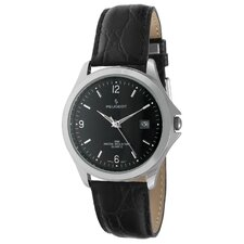 Men's Round Watch with Black Leather Strap in Silver Tone