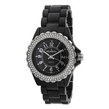 Women's Round Swarovski Elements Bezel Watch in Black Acrylic