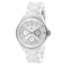Women's Round Multi Function Calendar Watch in White Acrylic